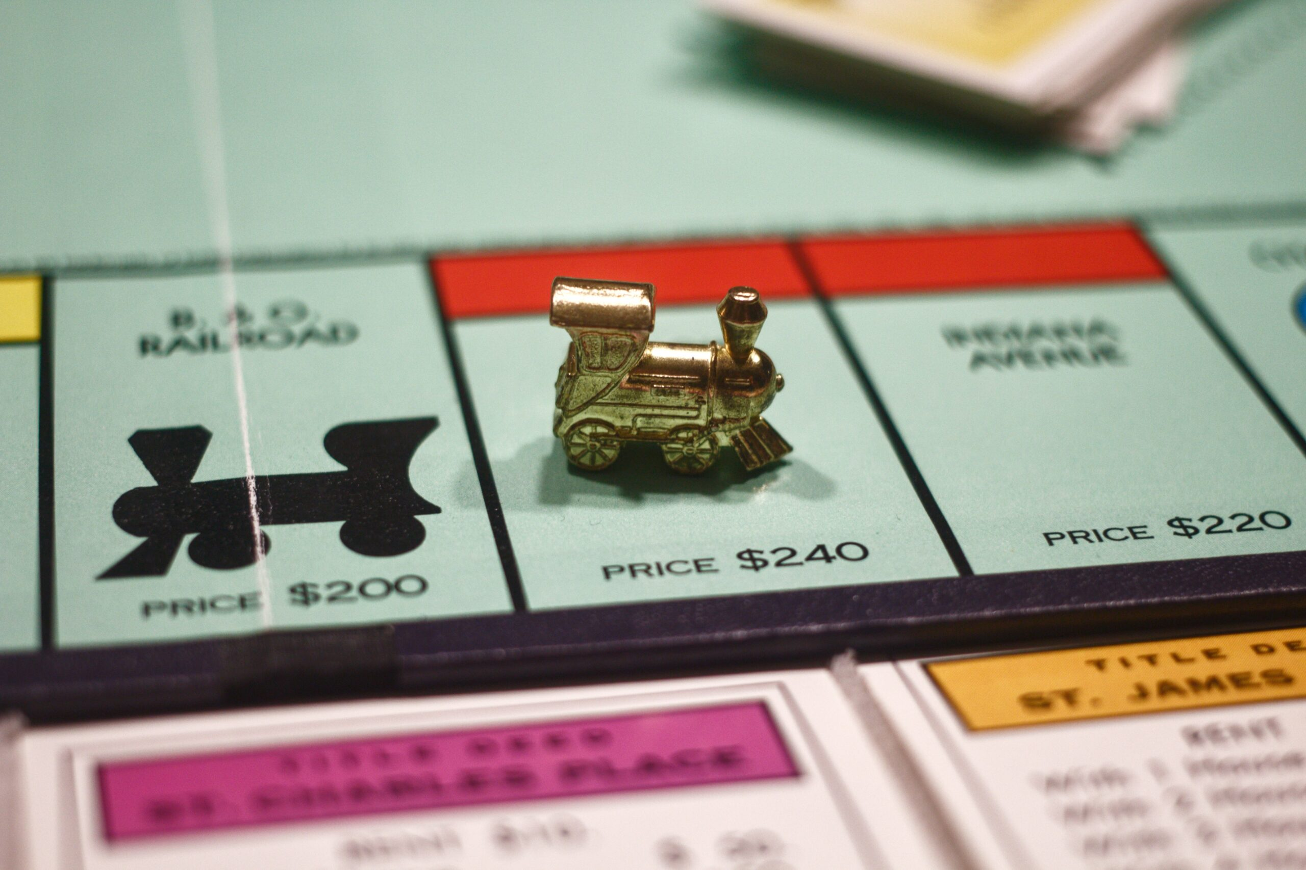 Picture of train on Monopoly board